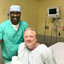 Michael Chaillet with Dr. Seun Sowemimo pre-op.